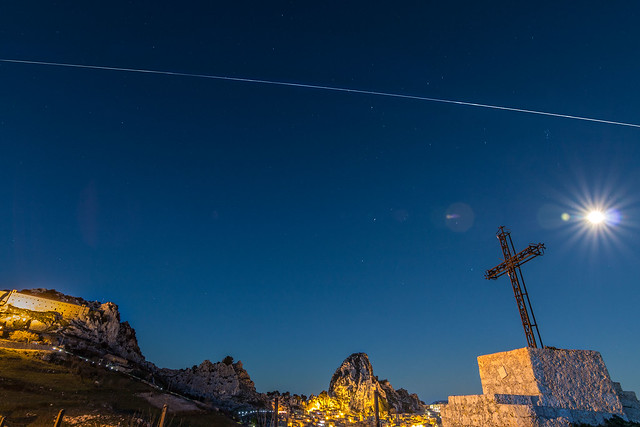 The International Space Station crossing the sky.