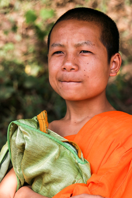 A young buddhist monk, Luang Prabang, laos ルアンパバーンの青年僧