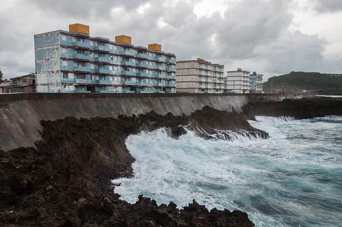 old sea architecture buildings waves sad side cuba flats projects malecón baracoa