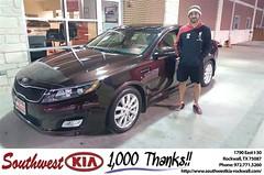 Congratulations Jonathan on your #Kia #Optima from Mauricio Pena at Southwest KIA Rockwall!