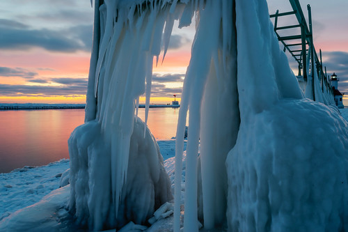 longexposure winter sunset sky lighthouse cold reflection ice clouds reflections geotagged evening pier frozen nikon michigan stjoseph lakemichigan icicles hdr oudoors stjosephlighthouse nikond5300
