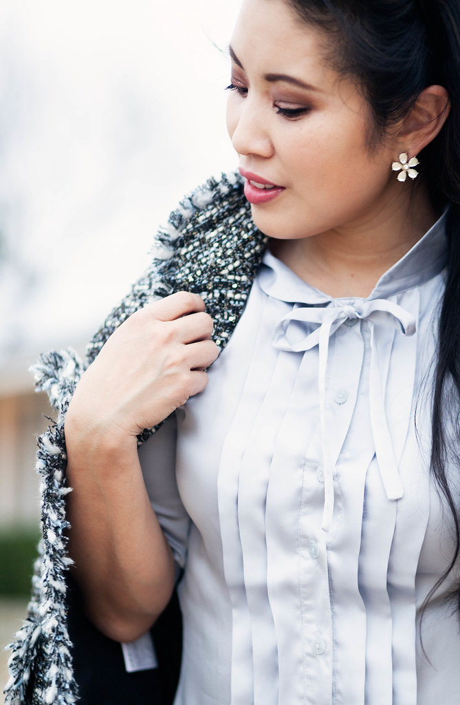 cute & little blog | petite fashion | silver fringe tweed jacket, serenity blue bow tuxedo blouse, flower crystal stud earrings | winter spring outfit