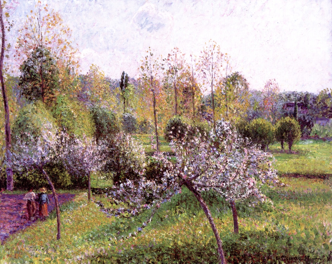 Apple Trees in Flower, Eragny by Camille Pissarro, 1895
