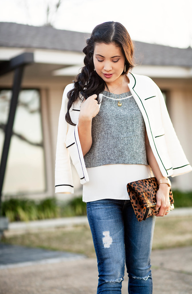cute & little | petite fashion blog | chanel tweed blazer, plum society gray layered tank, petite distressed jeans, white pumps, side pull-through braid, leopard clutch | mommy daughter | spring outfit