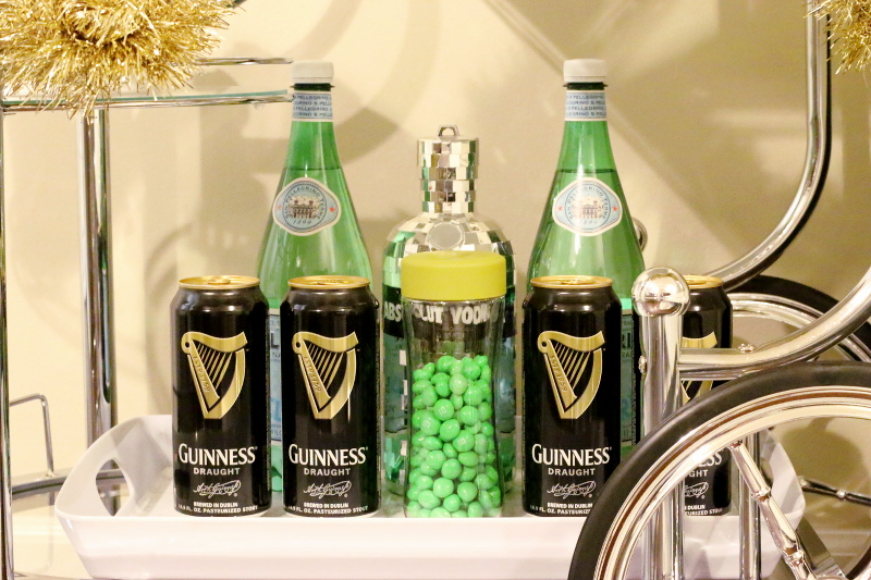 St Paddys Day, bar cart, guinness, san pellegrino, vodka