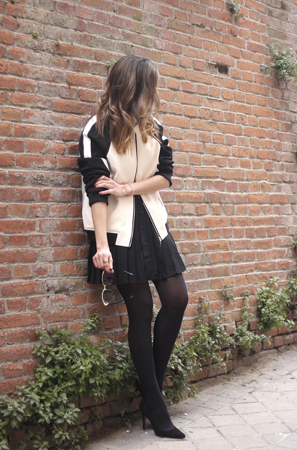 Bomber Mango Black Mango Skirt Black Heels outfit style18