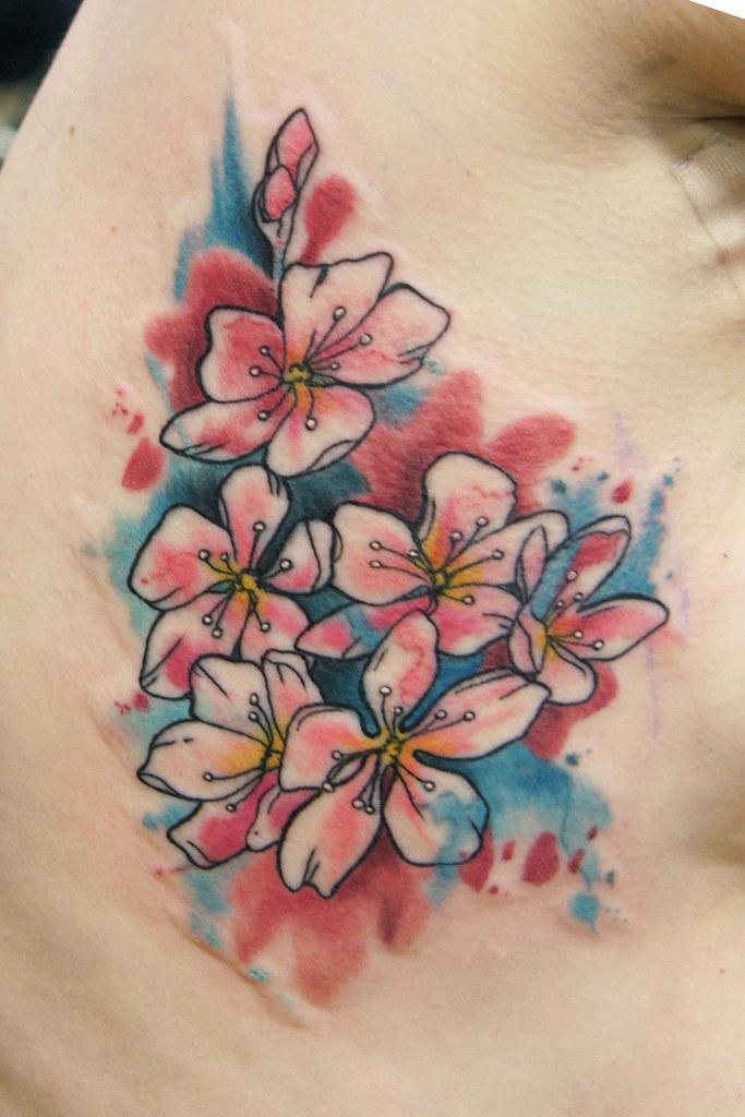 Watercolor Cherry Blossom Tattoo Deanna Wardin Flickr