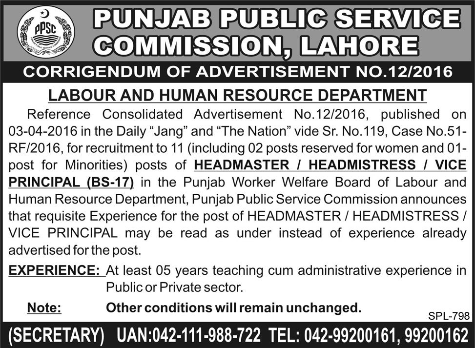 Punjab Public Service Commission Lahore Jobs 2016