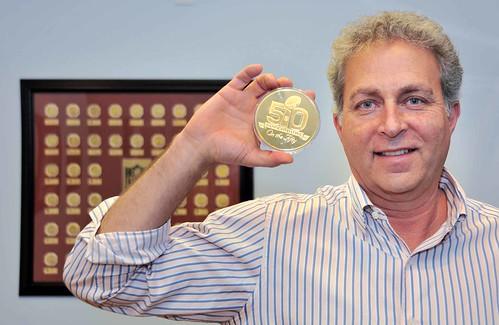 Michael Kott and Super Bowl 50 coin