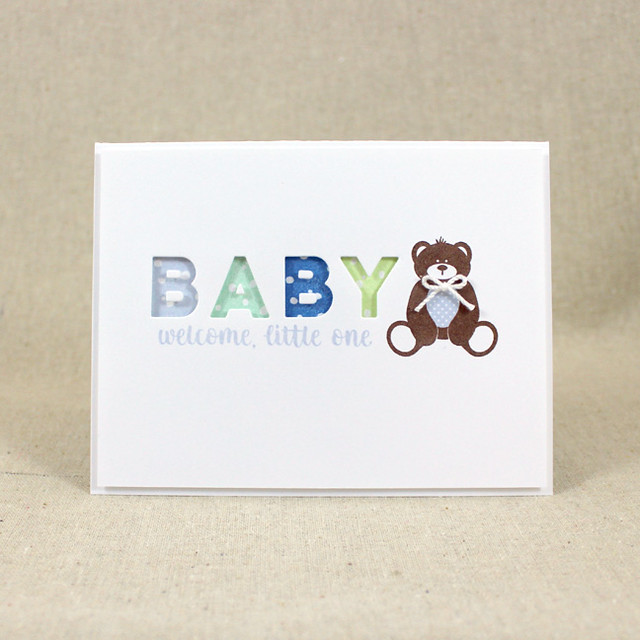 Baby Boy Teddy Bear Card