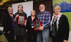 Brooksford Place and Killarney Gardens Housing Co-ops: 2020 Co-ops receiving 2020 Vision plaques from CHF Canada.