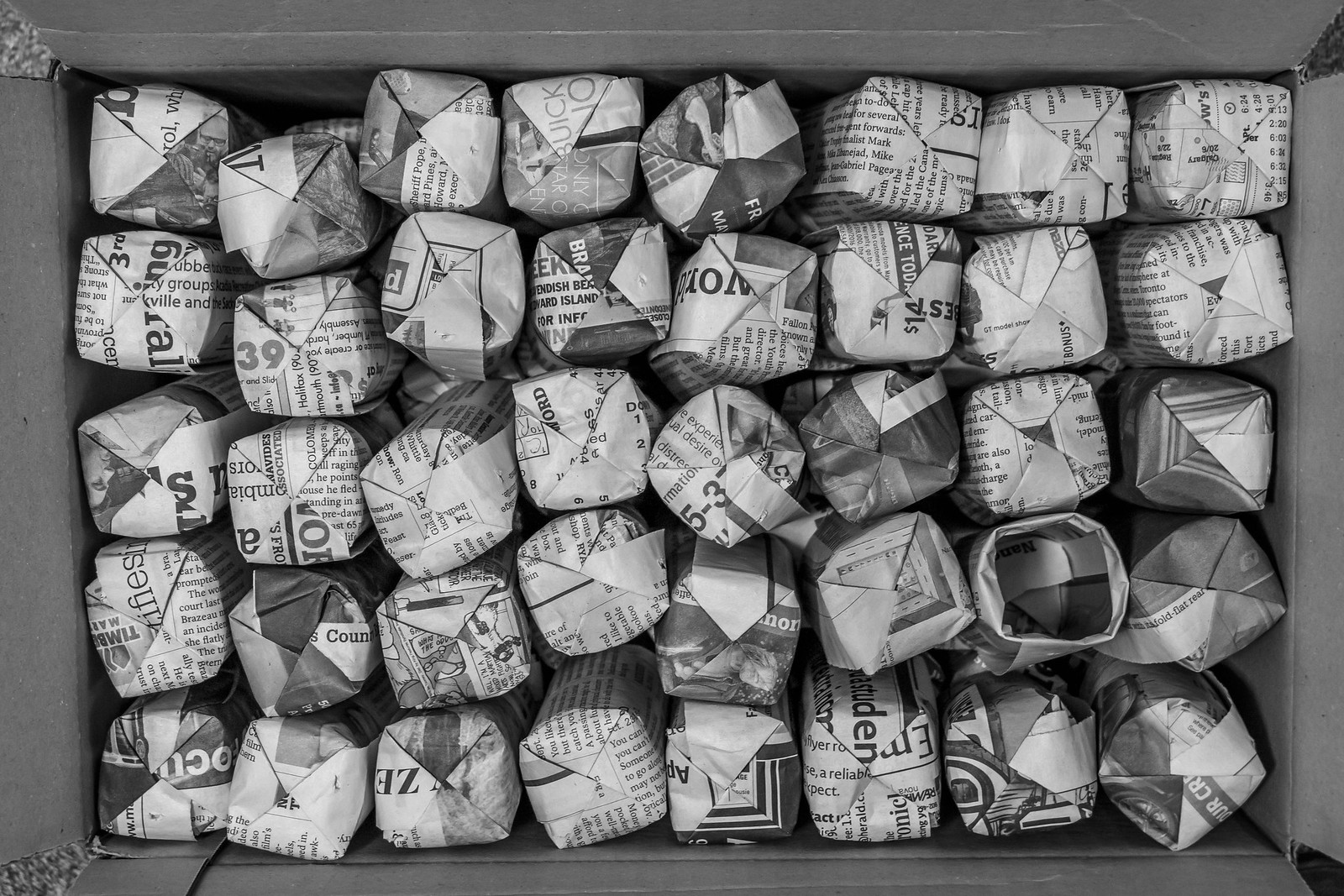 newspaper pots in a box