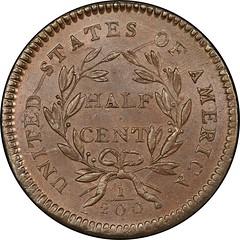 1794 Liberty Cap Half Cent. Cohen-4a reverse