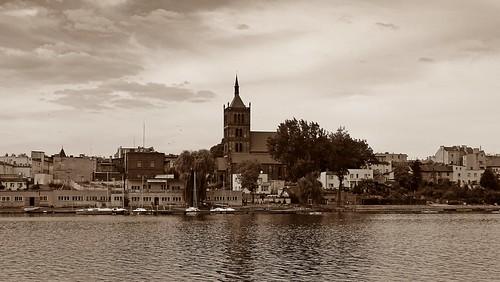 old lake building tower church architecture landscape town view poland polska historical teutonic piast chełmża