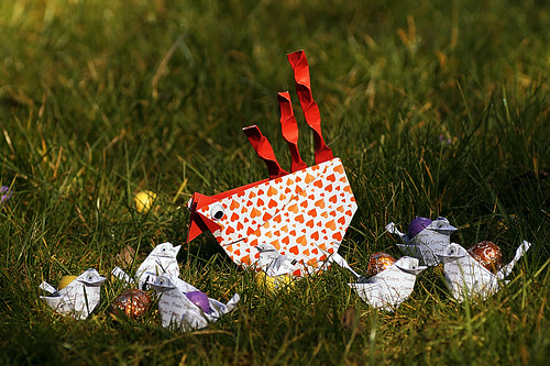 Origami Abundance Hen (Leyla Torres) and  Origami Chick (Simon Anderson)