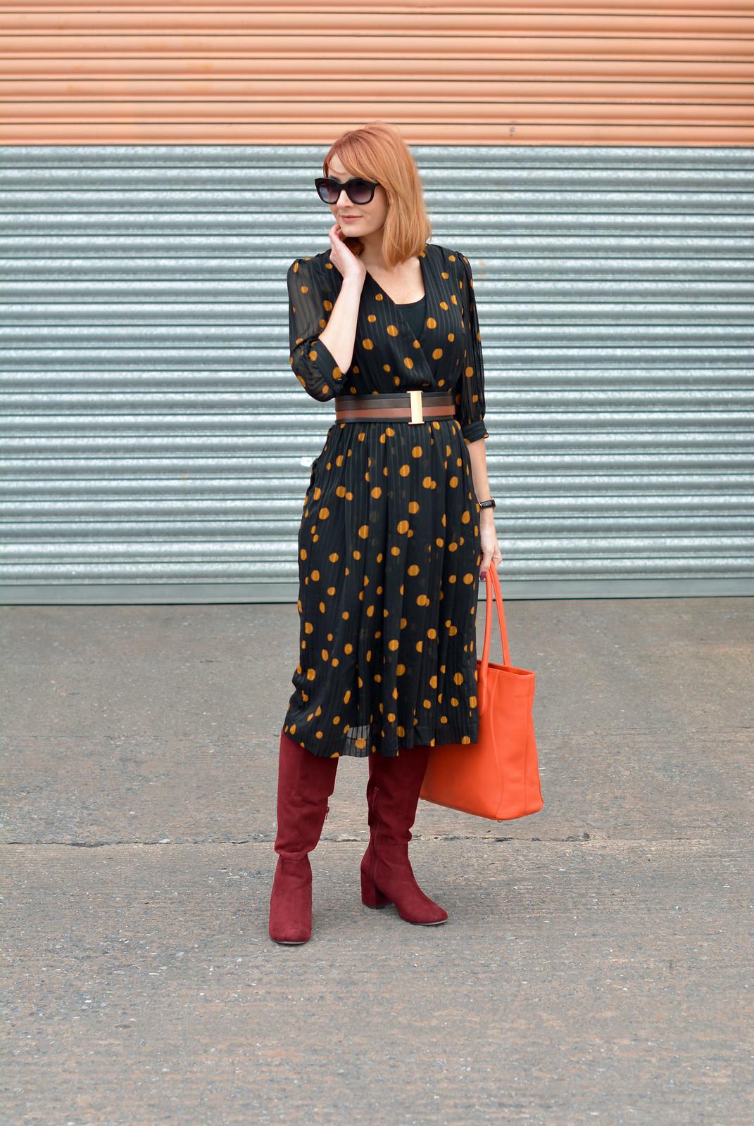 Vintage 70s polka dots dress, burgundy boots, orange tote | Not Dressed As Lamb
