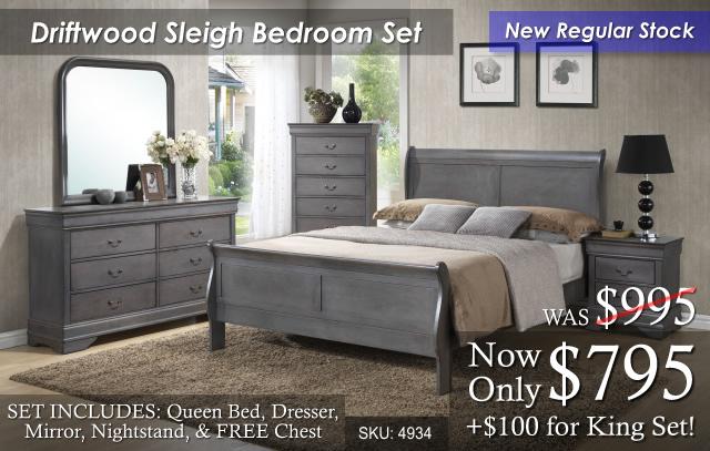 Driftwood Sleigh Bed Set 4934