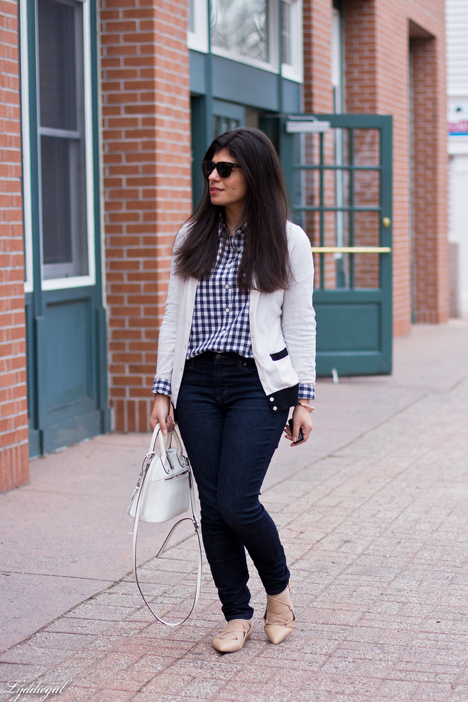 gingham shirt, white cardigan, nude laceup flats-1.jpg