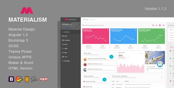 Materialism v1.0.0 - Angular Bootstrap Admin Template