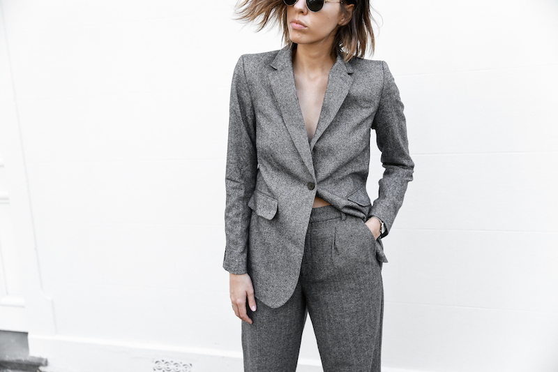 all grey suit Gucci horsebit loafer Proenza Schouler PS11 street style fashion blogger modern legacy Witchery  (10 of 11)
