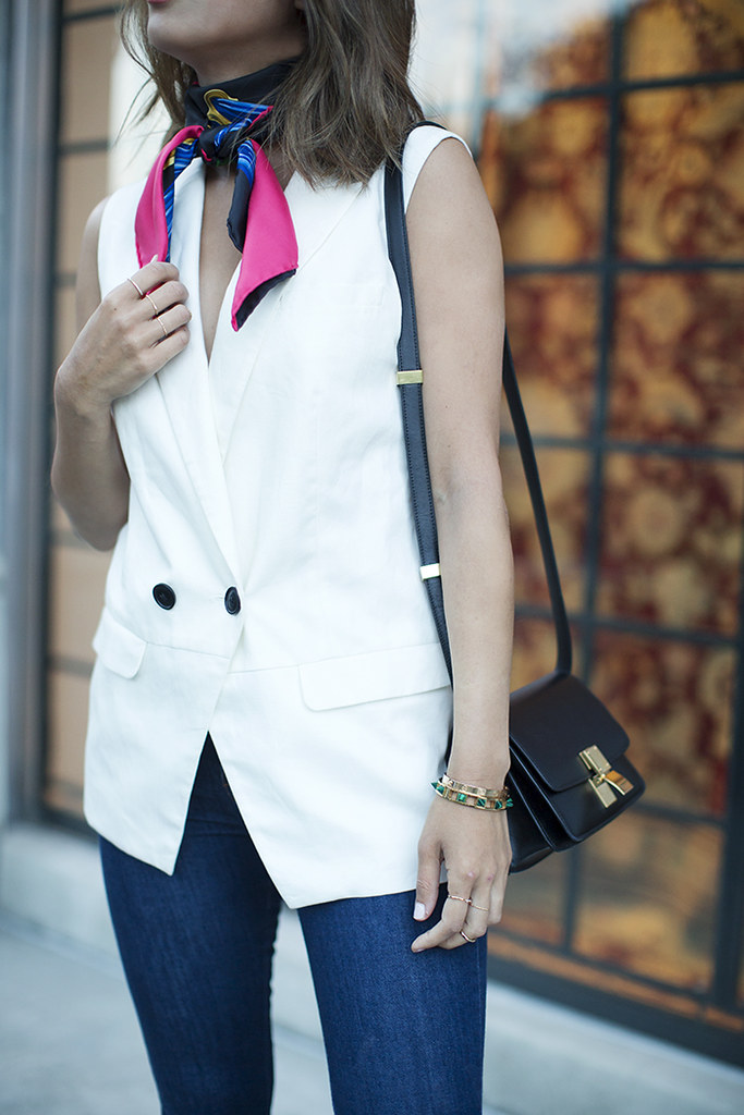 aimee_song_of_style_hermes_scarf_sleeveless_blazer_celine_mini_classic_bag1