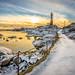 Winter sunset at Eigeroy lighthouse by Richard Larssen