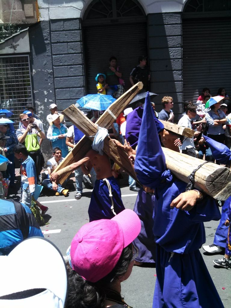 Marchers In Easter Procession Chained To Their Crosses