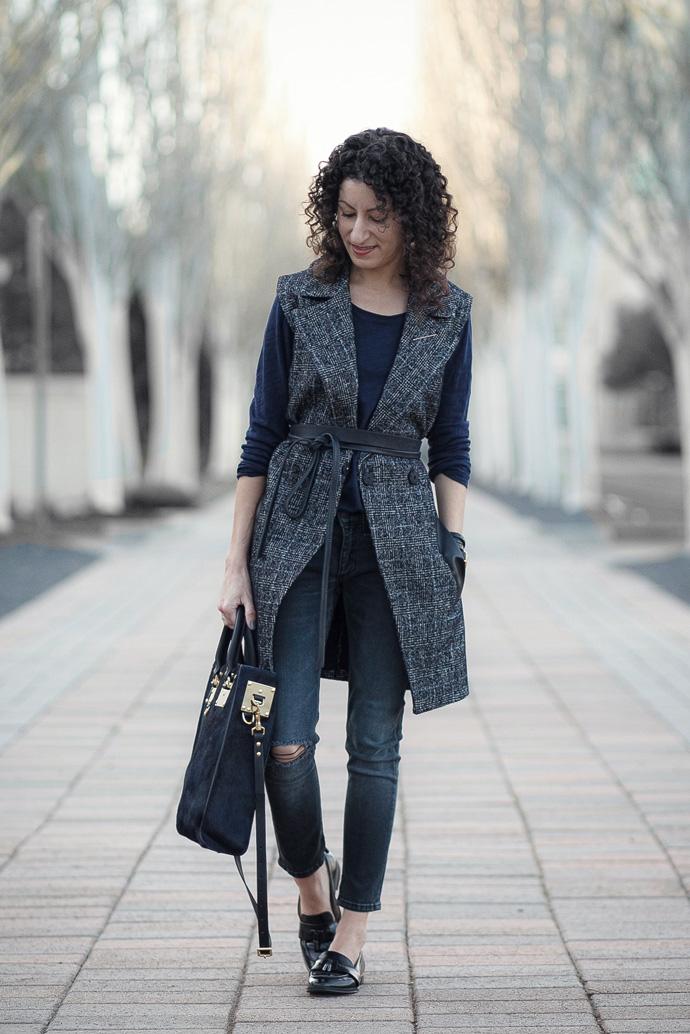 Madewell vest, Ada wrap belt, Rag & Bone ultra capri jeans, Via Spiga Amica loafers, Sophie Hulme tote