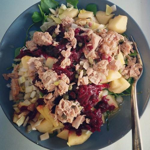 Belachelijk grote en lekkere salade 😄 met witloof, rode biet, postelein, appel en tonijn. #seizoensgroenten #wintergroenten #winterslaatje #winterkost #paleo #projectpaleo #projecthealthy #foodstagram #paleolunch #gezondelunch #glutenfree #glutenvri
