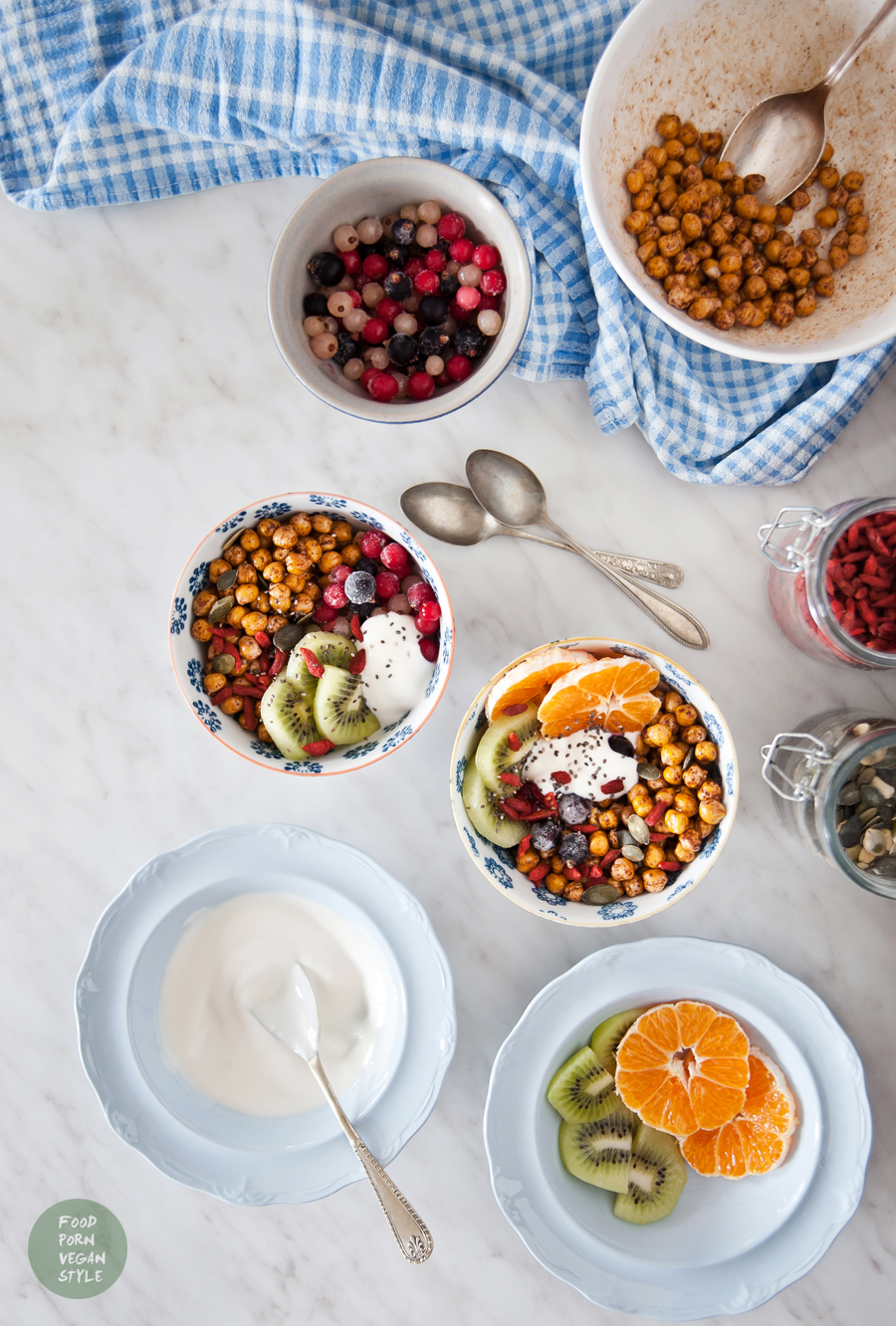 Simple vegan breakfast. Sweet roasted chickpeas with fruits and yoghurt