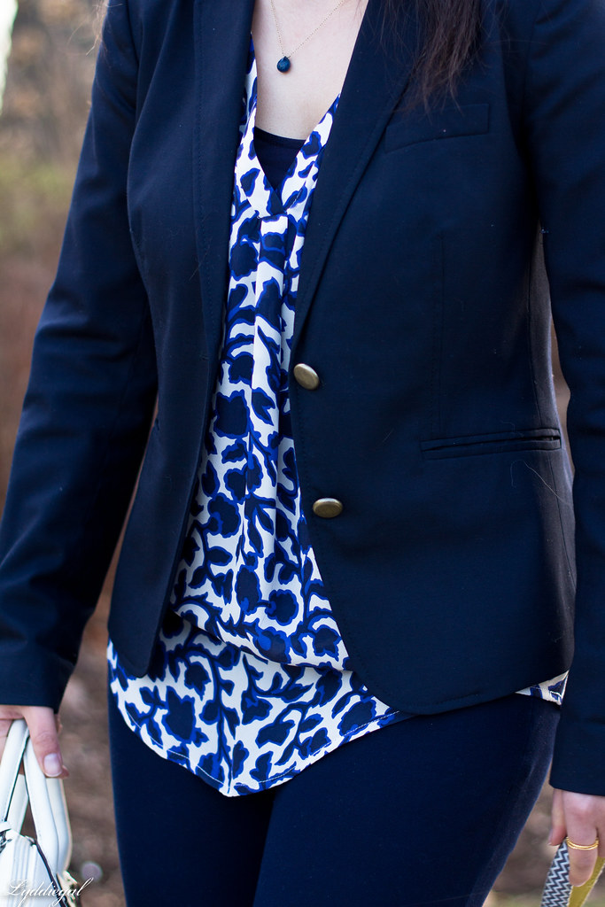 blue and white silk floral blouse, navy pants and blazer, dog-11.jpg