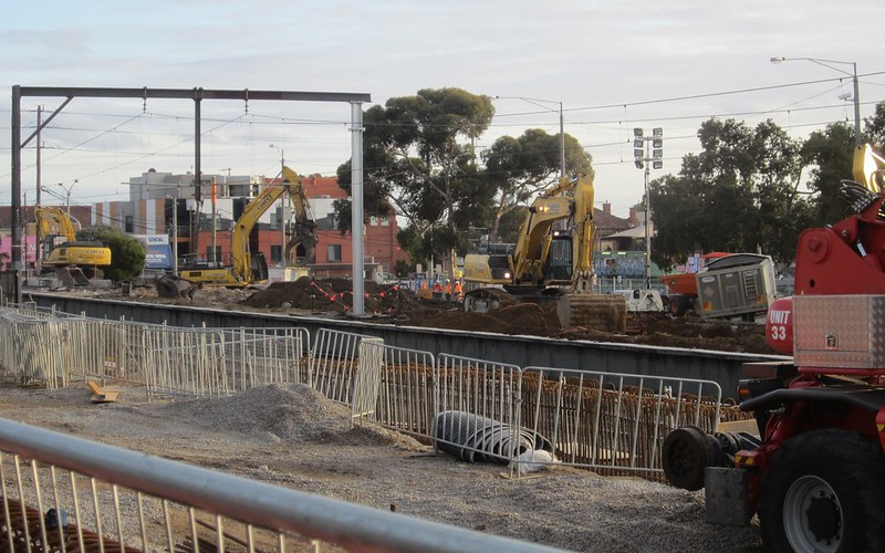 Ormond station demolition during level crossing removal works