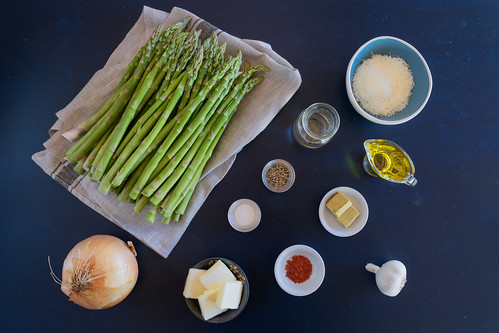 all the ingredients to make asparagus soup