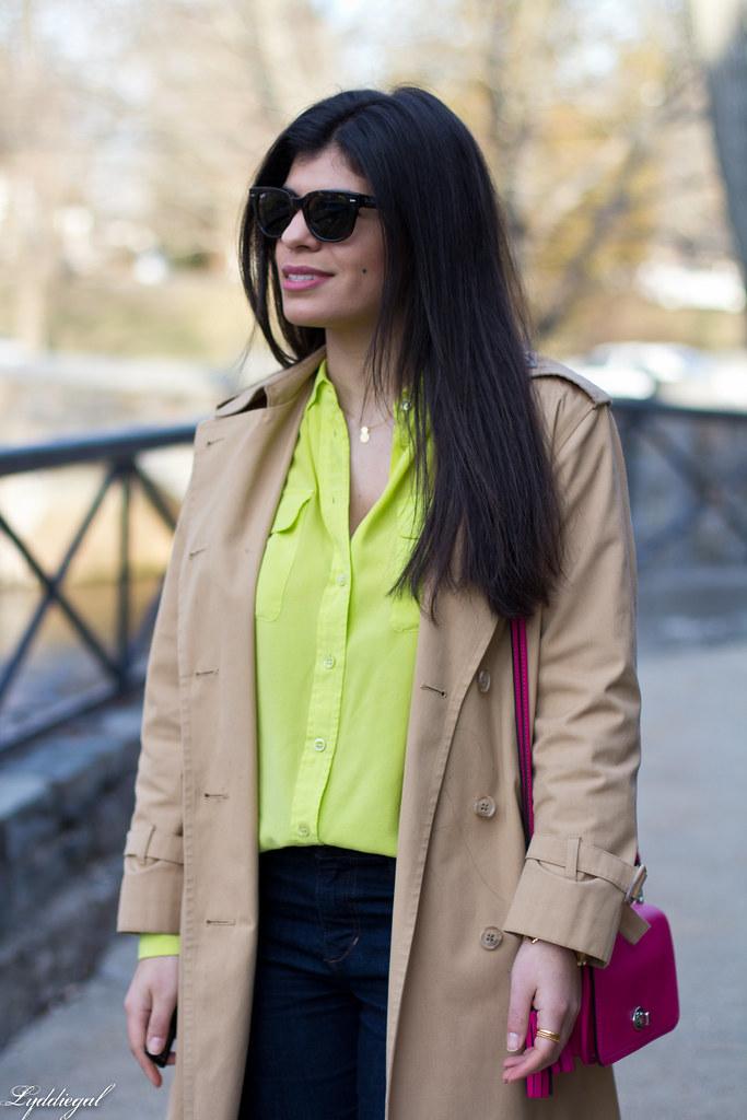 green equipment blouse, london fog trench, pink coach bag-3.jpg