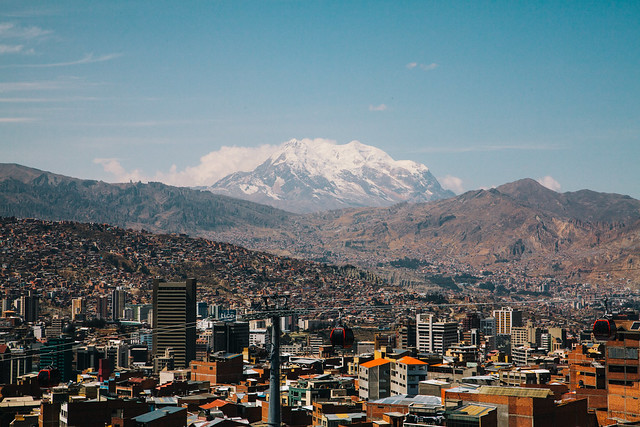Illimani towering over La Paz
