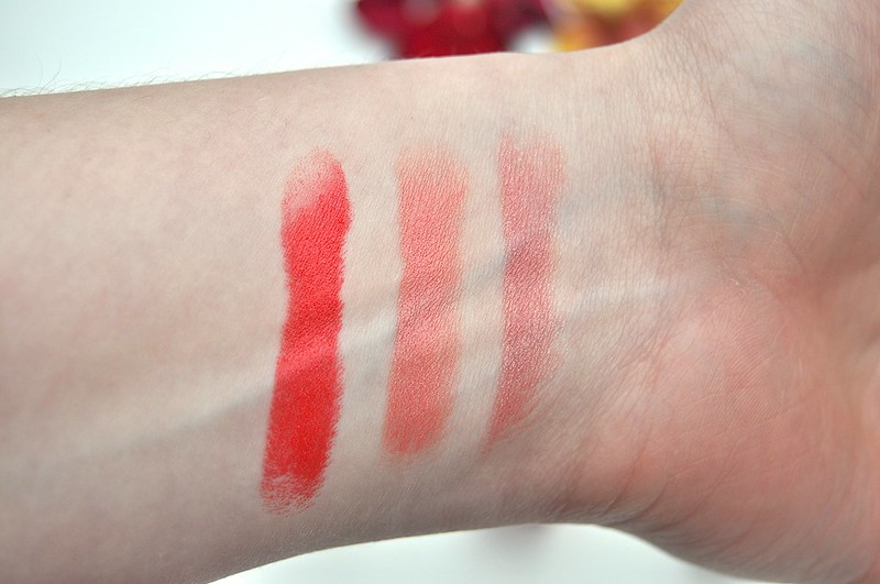 Clinique Lip Pop lipstick in Nude, Cherry and Melon swatch
