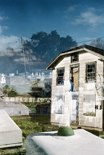 Abandoned house/cemetery double exposure