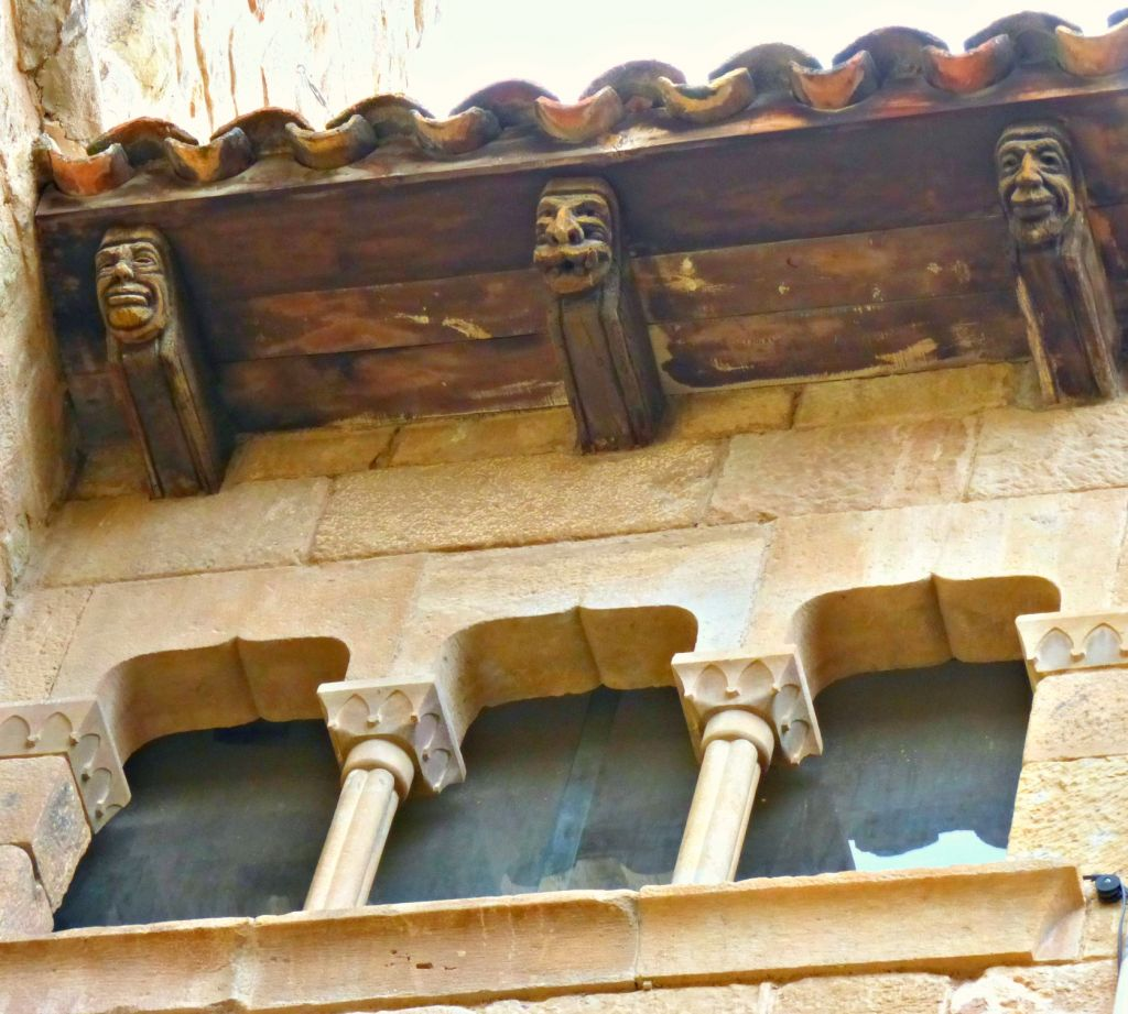 carved wooden beams