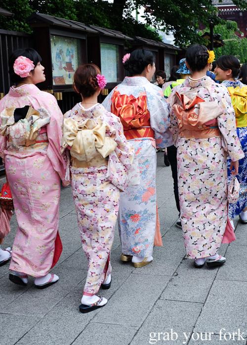 Ladies in kimonos at Nakamise, Sensoji Temple, Asakusa, Tokyo