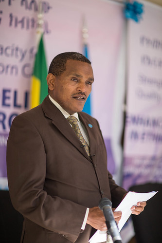 Dr Kebede Worku, State Minister of Health at the Maternal and New-born supplies hand over to Enhance Skills for Delivery in Ethiopia