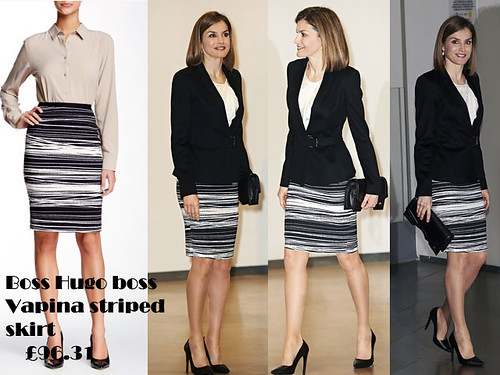 Monochrome striped pencil skirt with white top & black jacket blazer: Business meeting outfit