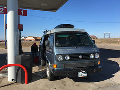 Filling up the gas tank since we ran out of gas on the first tank!