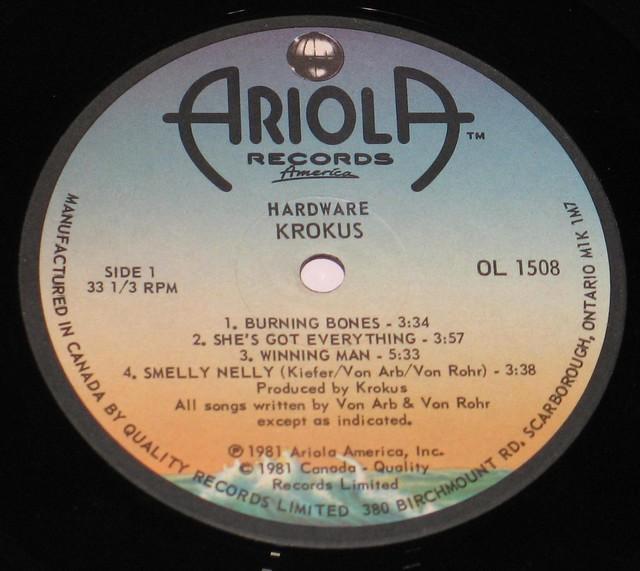 "Krokus Hardware Ariola Canada 12"" VInyl LP"