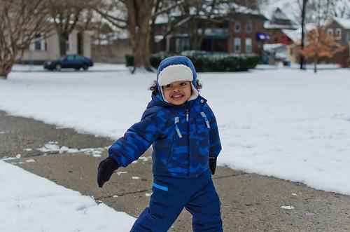 Running around in the snow