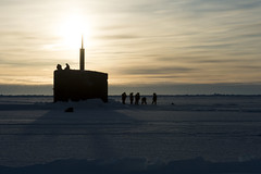 USS Hampton (SSN 767) surfaces through the ice in the Arctic Circle March 14 during ICEX. (U.S. Navy/MC2 Tyler Thompson)