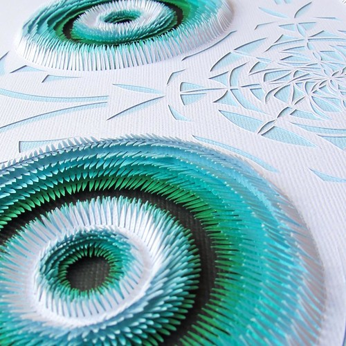Handcut Blue and Green Paper Art by Clare Pentlow