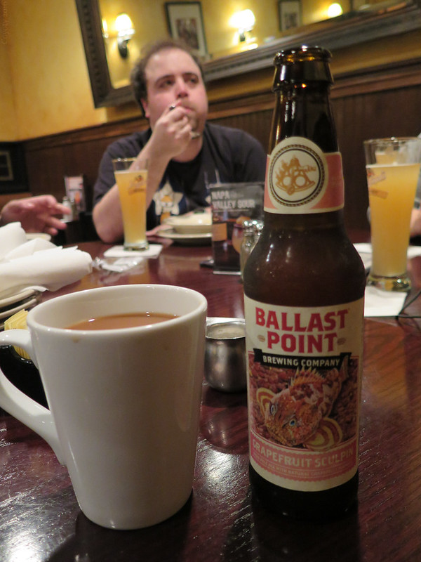 Ballast Point Grapefruit Sculpin and coffee