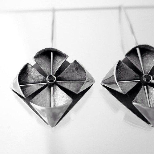 Origami-inspired Silver Earrings by Mayumi Origami
