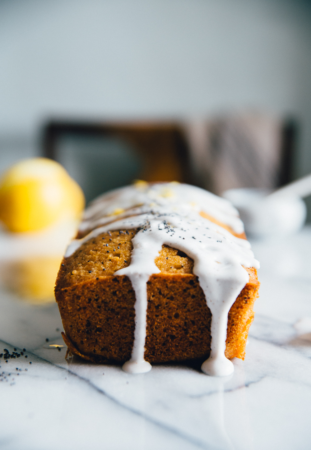 Almond Lemon Cake with Vanilla Icing | Cashew Kitchen