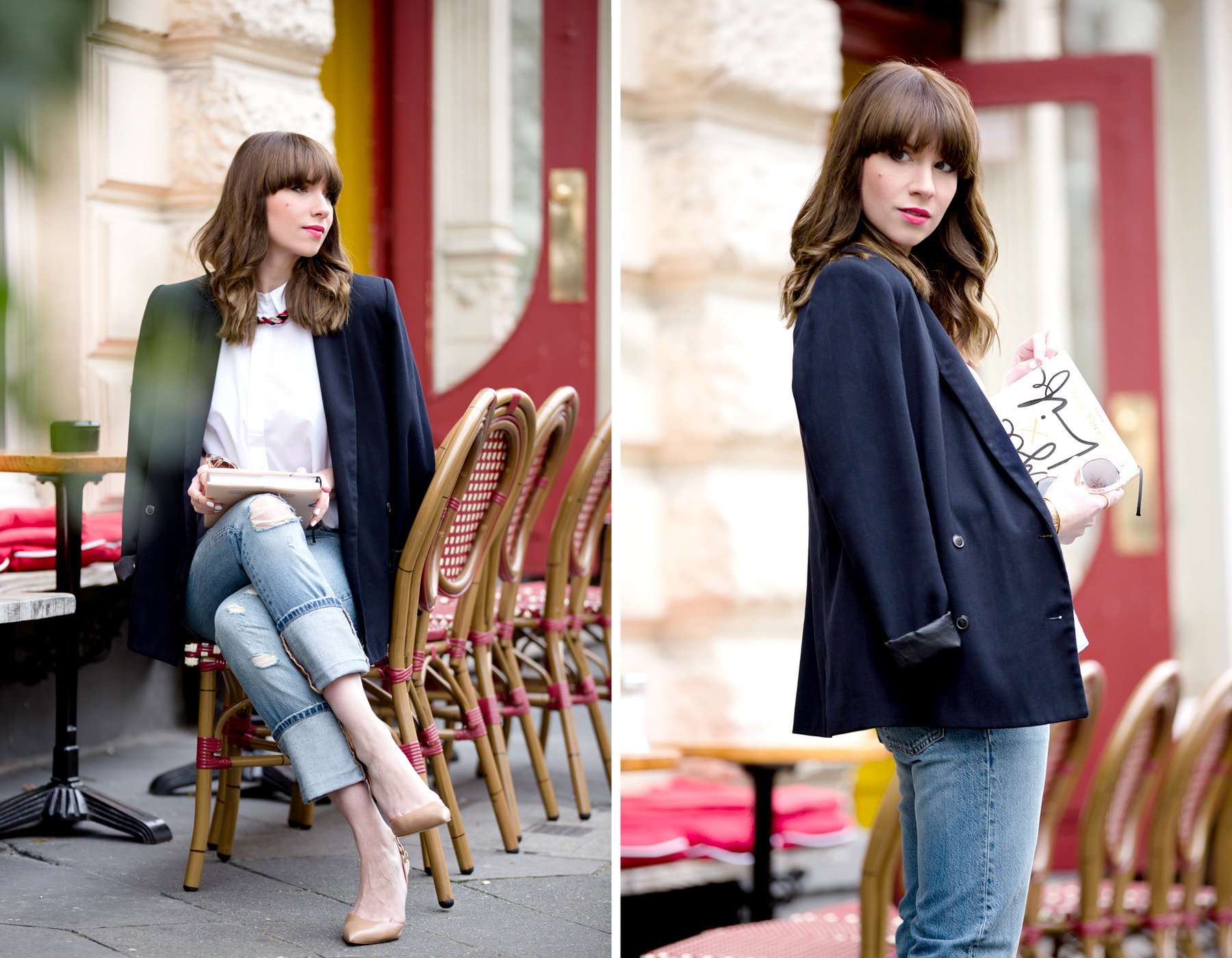 black blazer levi's 501 denim jeans nude pumps garance dore book parisienne french style blogger fashionblogger ootd outfit bangs brunette paris cute girl cats & dogs fashionblog ricarda schernus shopbop sale 6